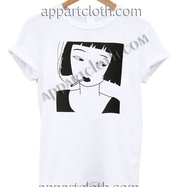 Smoking Girl T Shirt – Adult Unisex Size S-2XL