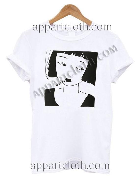 Smoking Girl T Shirt – Adult Unisex Size S-2XL