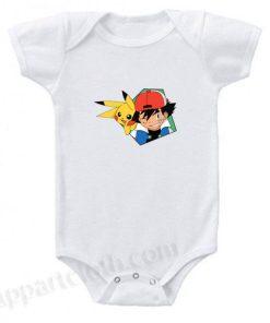 Ash and Pikachu Pokemon Funny Baby Onesie