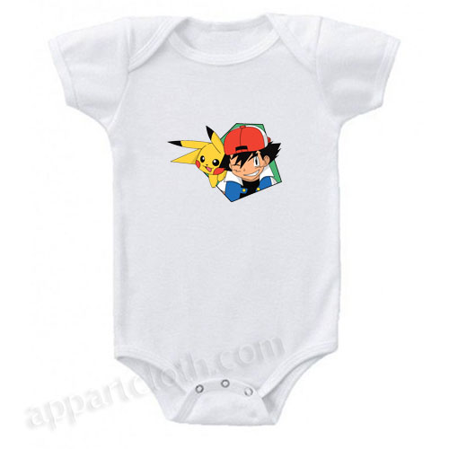 Ash and Pikachu Pokemon Funny Baby Onesie