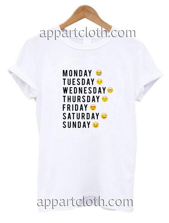1c7f5ecc8 Days Of The Week Emoji Funny Shirts, Funny T Shirts For Guys