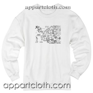 New York City Map Illustration and Wall Decal Unisex Sweatshirt