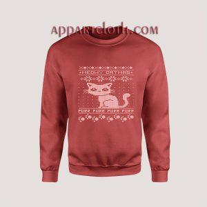 Meowy Ugly Christmas Red Unisex Sweatshirts