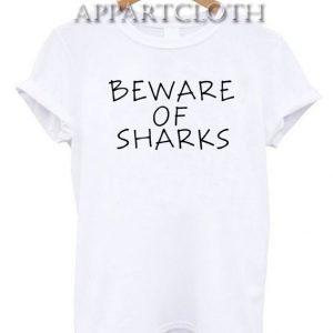 Beware of sharks black Funny Shirts