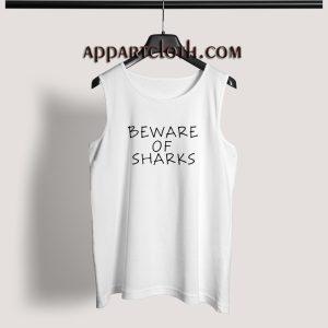 Beware of sharks black Adult tank top
