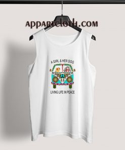 a girl and her dog living in peace Adult tank top