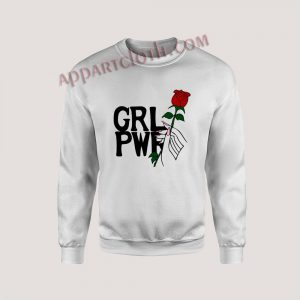 Girl power hand up with rose Unisex Sweatshirts
