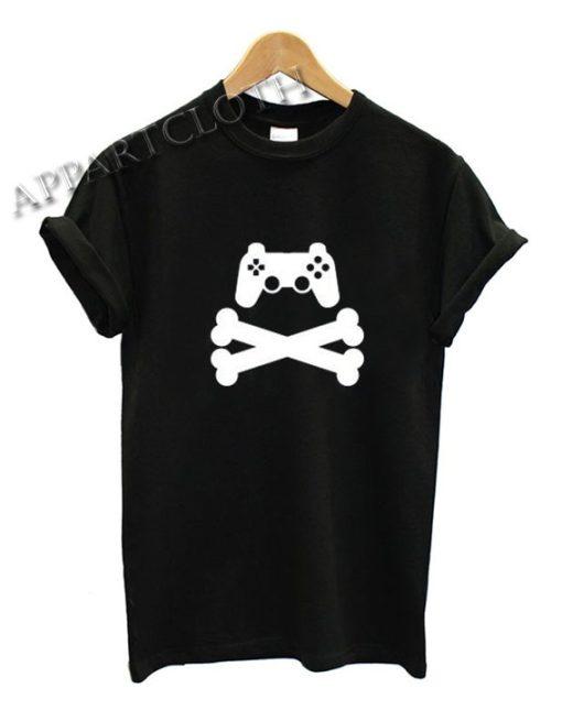 Gamer T-Shirt Game Pad Cross Bones Gaming Funny Shirts