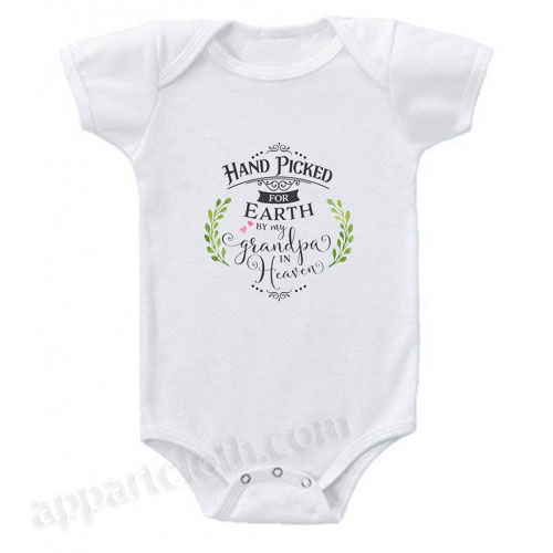 Handpicked For Earth By My Grandpa In Heaven - Grandfather Angel Funny Baby Onesie