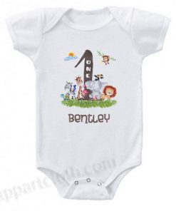 One Year Birthday Shirt or Onesie with Animals Funny Baby Onesie