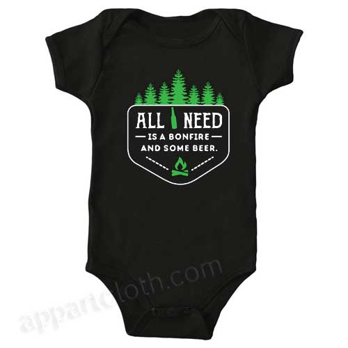 All you need is a bonfire and some beer! Funny Baby Onesie