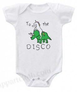 To The Disco Unicorn Riding Triceratops Funny Baby Onesie
