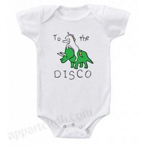 To The Disco Unicorn Riding Triceratops Funny Baby Onesie
