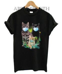 Cute Cat Wear Face Mask T-Shirt